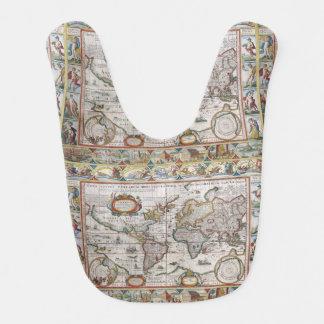 Antique World Map baby bib
