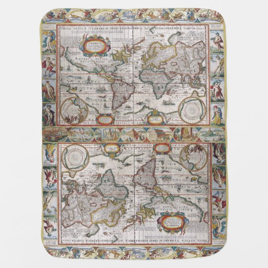 Antique World Map baby blanket