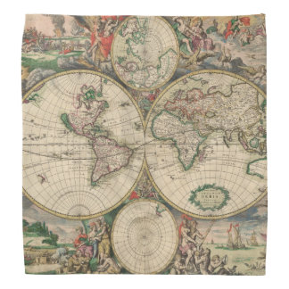 Antique World Map Bandana
