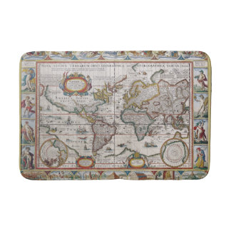 Antique World Map bath mat