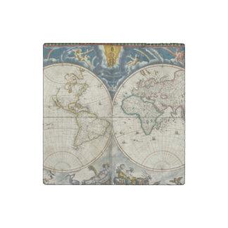Antique World Map - Blaeu, Joan 1664 Stone Magnet