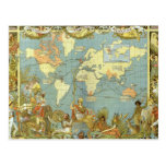 Antique World Map, British Empire, 1886
