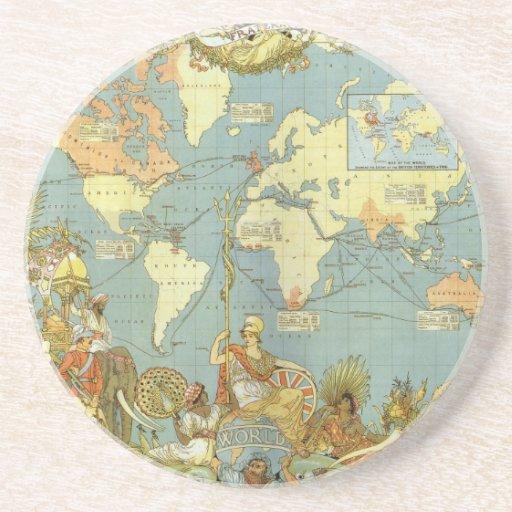 Antique World Map, British Empire, 1886 Coasters