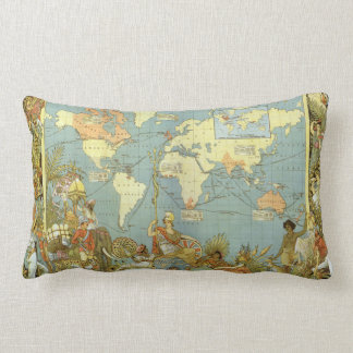 Antique World Map British Empire 1886 Pillows