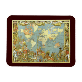 Antique World Map, British Empire, 1886 Magnets