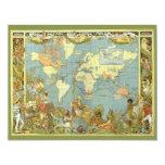 Antique World Map, British Empire, 1886 11 Cm X 14 Cm Invitation Card