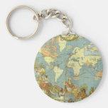Antique World Map, British Empire, 1886 Basic Round Button Key Ring