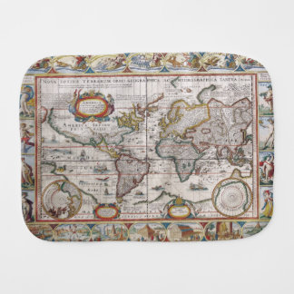 Antique World Map burp cloth