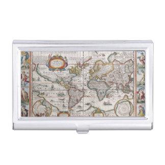 Antique World Map business card holder