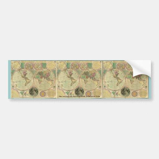 Antique World Map by Carington Bowles, circa 1780 Bumper Sticker