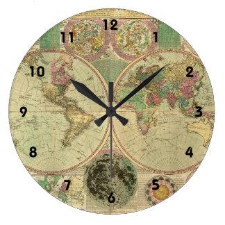 Antique World Map by Carington Bowles, circa 1780 Large Clock