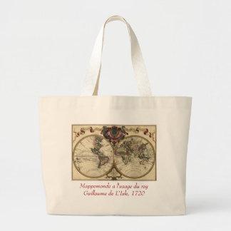 Antique World Map by Guillaume de L Isle 1720 Canvas Bags