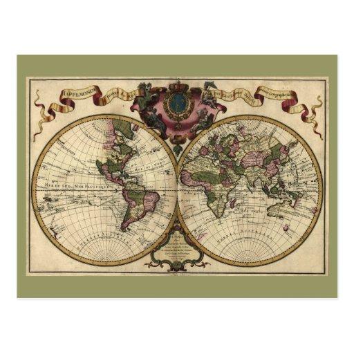 Antique World Map by Guillaume de L'Isle, 1720 Postcards