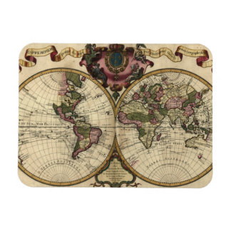 Antique World Map by Guillaume de L'Isle, 1720 Rectangular Photo Magnet