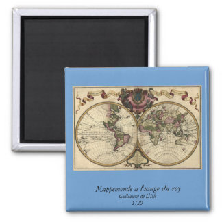 Antique World Map by Guillaume de L'Isle, 1720 Square Magnet