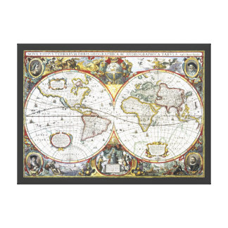 Antique World Map by Hendrik Hondius, 1630 Canvas Print