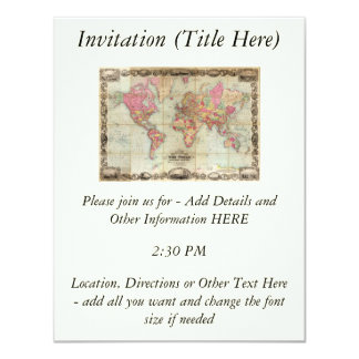 Antique World Map by John Colton, circa 1854 11 Cm X 14 Cm Invitation Card
