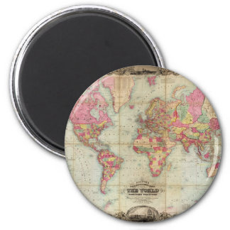 Antique World Map by John Colton, circa 1854 6 Cm Round Magnet