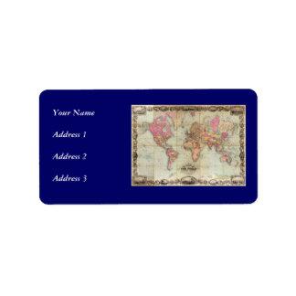 Antique World Map by John Colton, circa 1854 Address Label