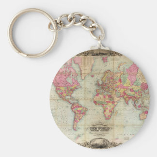 Antique World Map by John Colton, circa 1854 Basic Round Button Key Ring
