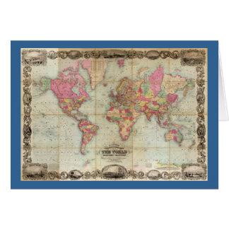 Antique World Map by John Colton, circa 1854 Greeting Card