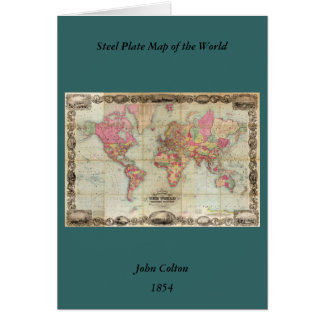 Antique World Map by John Colton, circa 1854 Greeting Card