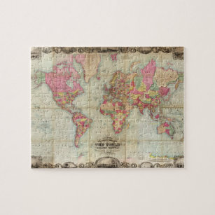 Antique World Map by John Colton, circa 1854 Jigsaw Puzzle