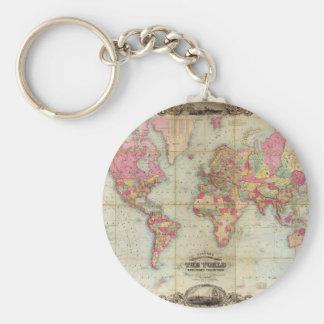 Antique World Map by John Colton, circa 1854 Key Ring