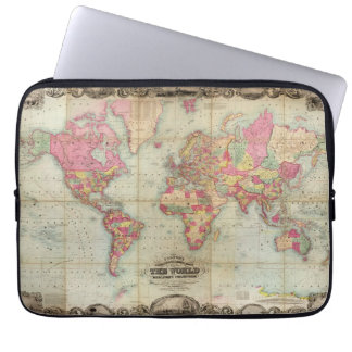 Antique World Map by John Colton, circa 1854 Laptop Sleeves