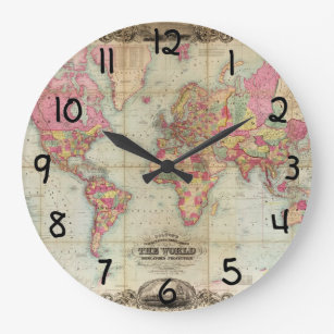 Antique world maps wall clocks zazzle antique world map by john colton circa 1854 large clock gumiabroncs Gallery