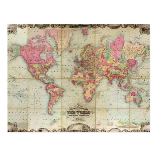 Antique World Map by John Colton, circa 1854 Post Cards