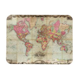 Antique World Map by John Colton, circa 1854 Rectangular Photo Magnet