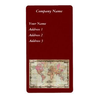 Antique World Map by John Colton, circa 1854 Shipping Label