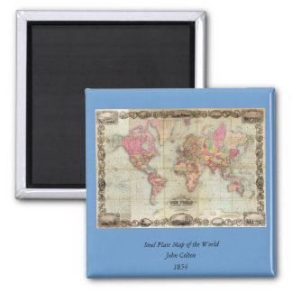 Antique World Map by John Colton, circa 1854 Square Magnet