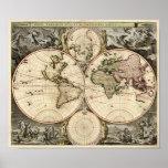 Antique World Map by Nicolao Visscher, circa 1690