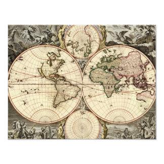 Antique World Map by Nicolao Visscher, circa 1690 Custom Invites
