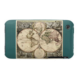 Antique World Map by Nicolao Visscher, circa 1690 iPhone 3 Cases