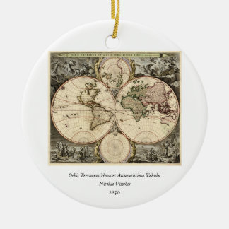 Antique World Map by Nicolao Visscher, circa 1690 Round Ceramic Decoration