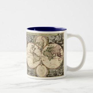 Antique World Map by Nicolao Visscher, circa 1690 Two-Tone Coffee Mug