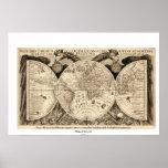 Antique World Map by Philipp Eckebrecht - 1630