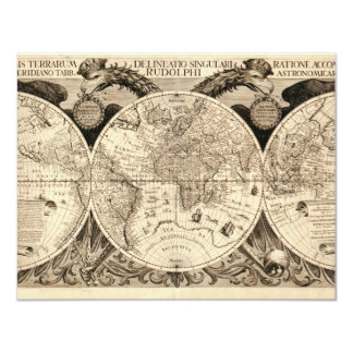 Antique World Map by Philipp Eckebrecht - 1630 11 Cm X 14 Cm Invitation Card