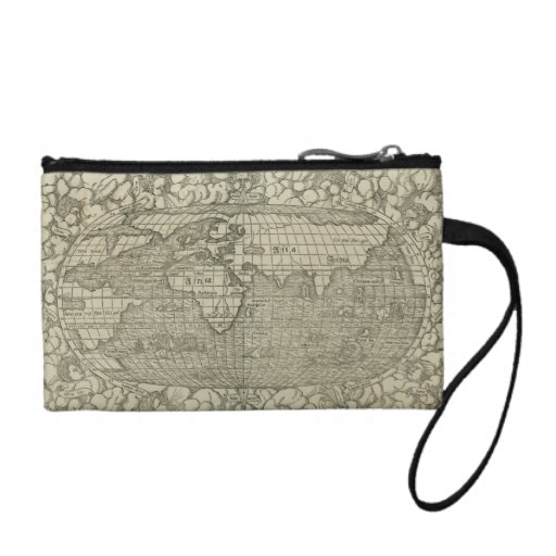 Antique World Map by Sebastian Münster circa 1560 Change Purse