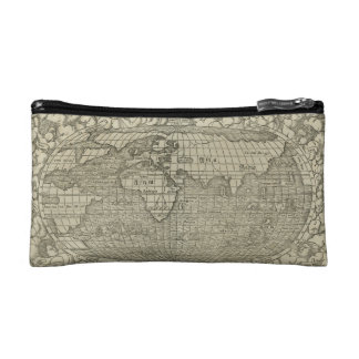 Antique World Map by Sebastian Münster circa 1560 Cosmetics Bags