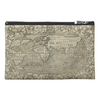 Antique World Map by Sebastian Münster circa 1560 Travel Accessory Bags