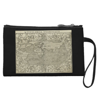 Antique World Map by Sebastian Münster circa 1560 Wristlet Clutches