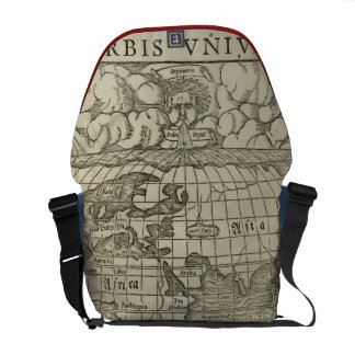 Antique World Map by Sebastian Münster circa 1560 Messenger Bags