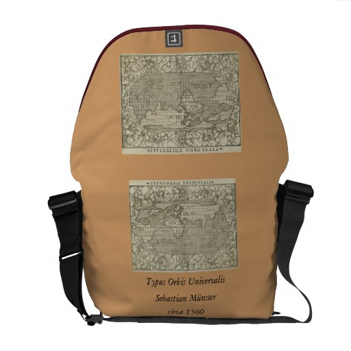Antique World Map by Sebastian Münster circa 1560 Courier Bag