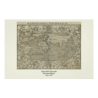 Antique World Map by Sebastian Münster circa 1560 Posters