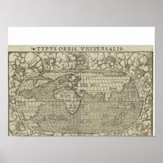 Antique World Map by Sebastian Münster circa 1560 Poster
