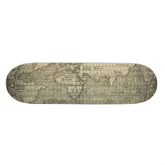 Antique World Map by Sebastian Münster circa 1560 Skate Board